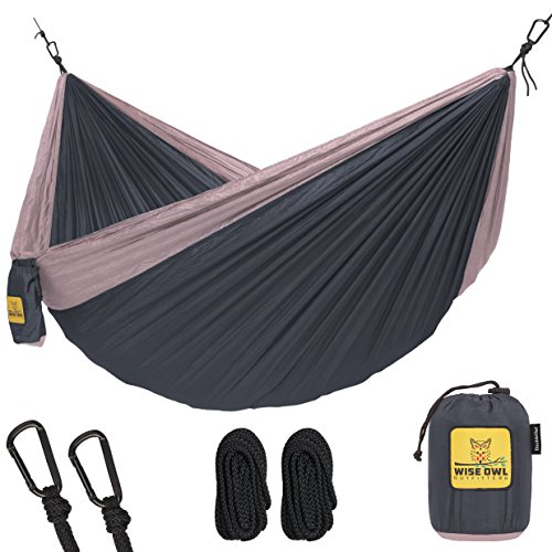 Hammock for Camping Single & Double Hammocks - Top Rated Best Quality Gear For The Outdoors Backpacking Survival or Travel - Portable Lightweight Parachute Nylon DO Charcoal Rose (Aluminum Triple Tree)