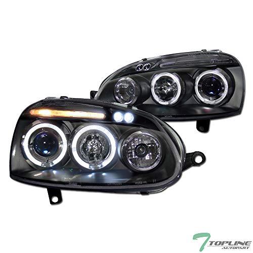 Topline Autopart Black Clear Housing Halo LED Projector Headlights Signal JY For 06-09 Volkswagen MK5 Golf Rabbit/GTI / R32 / Jetta/GLI ()