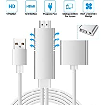 Lightning to HDMI Adapter DIWUER Lightning Digital AV to HDMI Cable with 1080P Video Audio Output for Mirroring Apple iPhone X/8 Series iPad and Android Smartphones Screen to TV/Projector/Monitor