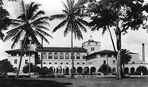 Honolulu, Hawaii View of Federal Bldg and Post Office Photograph (16x24 Fine Art Giclee Gallery Print, Home Wall Decor Artwork - Vintage Office View Post