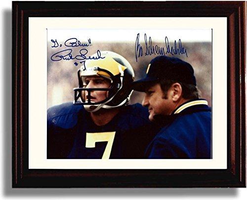 Wolverine Autograph - Framed Rich Leach & Bo Schembechler Michigan Wolverines Autograph Replica Print