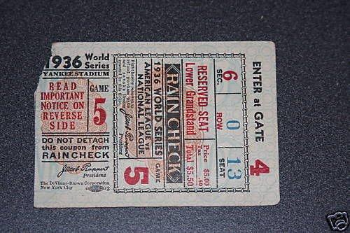 1936 NEW YORK YANKEES WORLD SERIES TICKET Game 5 VS NEW YORK GIANTS
