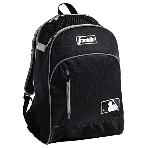 Franklin Sports MLB Batpack Bag - Perfect for Baseball, Softball, & T-Ball - Black/Gray ()