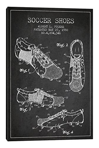 iCanvasART Soccer Shoe Charcoal Patent Blueprint Canvas Print, 40'' x 0.75'' x 26'' by iCanvasART