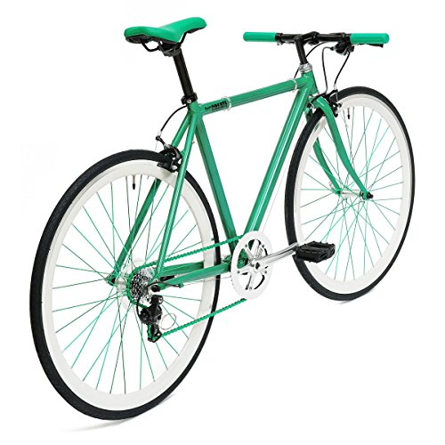 """GHP Green Alloy 71"""" H x 19.5"""" W x 131"""" D C8 Gear Fixed Gear Bicycle"""