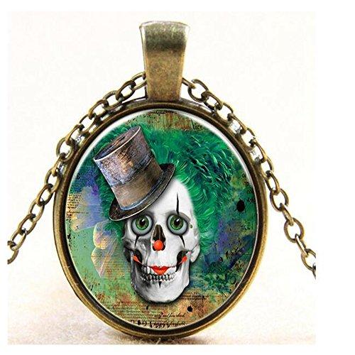Darkey Wang Women Skull Clown Time Gemstone Pendant Necklace Glass Sweater (Classic Army Silencer)