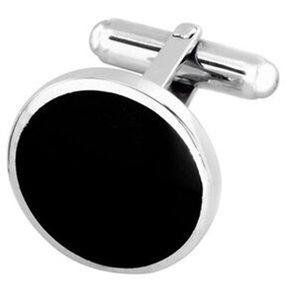 Box Set Shirt Black Tie Dress Studs Sterling 925 Solid Silver Round Onyx Cufflinks