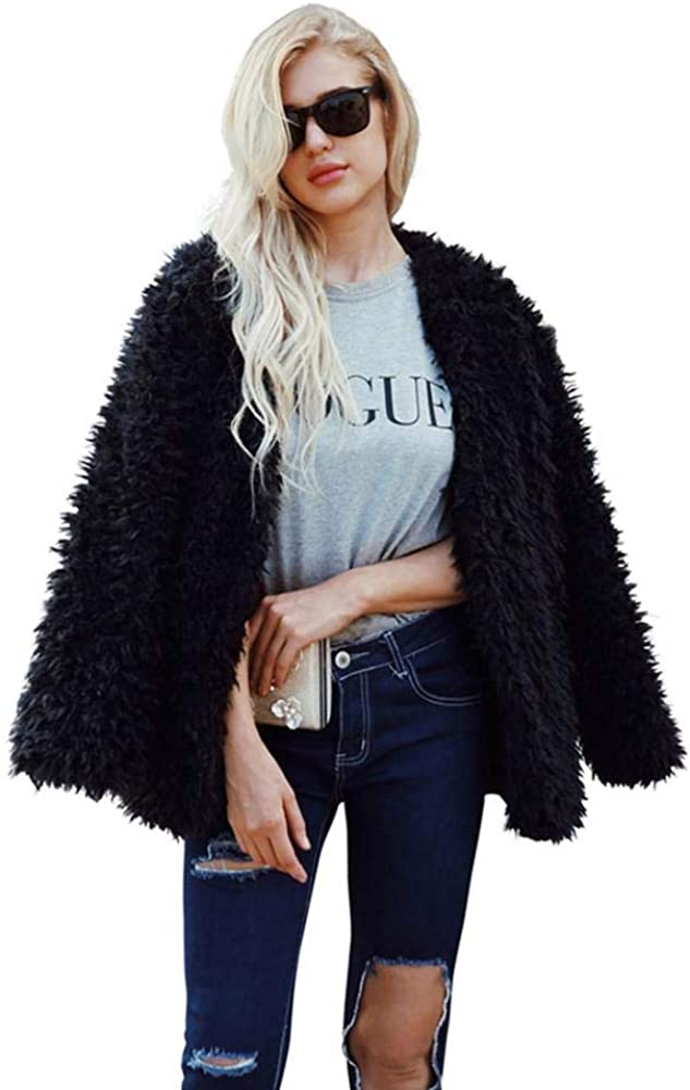 kiss me Womens Shaggy Faux Fur Coat Solid Color Long Sleeve Short Jacket Fluffy Coat Cardigans Outwear
