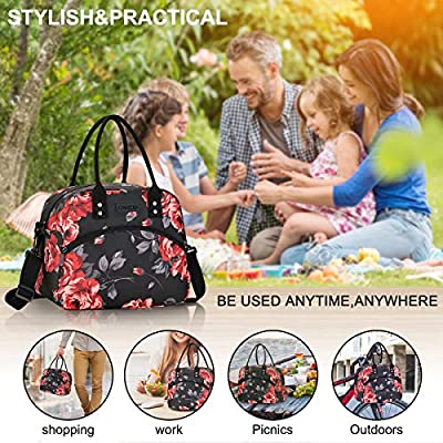 Lunch Bags for Women and Men, Insulated Lunch Box Cooler Tote Bag With Detachable Shoulder Strap for Work and Travel Meal Prep (Black Rose): Kitchen & Dining