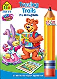 SCHOOL ZONE - Tracing Trails Pre-Writing Skills Workbook, Preschool and Kindergarten, Ages 3 through 5, Lovable Illustrations, Shapes, Following Directions, Alphabet and More