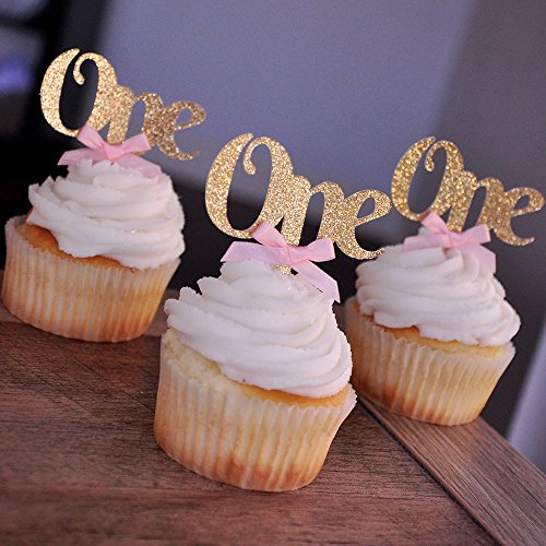 (One Cupcake Toppers with Baby Pink Bows 12CT. Gold First Birthday)