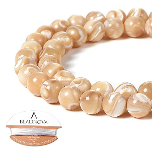 - BEADNOVA Natural Mother of Pearl Nacre Conch Shell Beads Natural Crystal Beads Stone Gemstone Round Loose Energy Healing Beads with Free Crystal Stretch Cord for Jewelry Making (8mm, 45-48pcs)