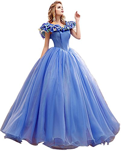 Snowskite Women's Princess Costume Butterfly Ball Gown Cinderella Quinceanera Dress Blue -
