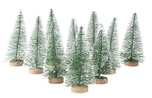 Juvale Pack of 12 Sisal Trees - Mini Tree - Christmas Miniature Tabletop Decoration, 4.25 x 2 x 2 Inches