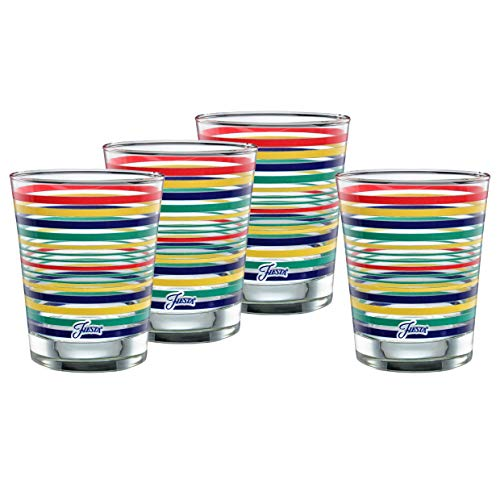Fiesta Drinking Glasses (Officially Licensed Fiesta Stripes 14-Ounce Tapered DOF Double Old Fashioned Glass (Set of 4) (Cobalt)