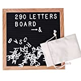 AZDENT Changeable Felt Letter Board 10×10 inch Black Oak Wood Message Board Frame Alphabet Letterboard