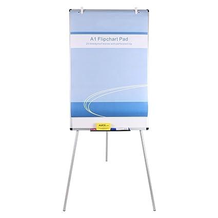 VIZ-PRO Pizarra blanca de caballete magnética, 90 x 60 cm