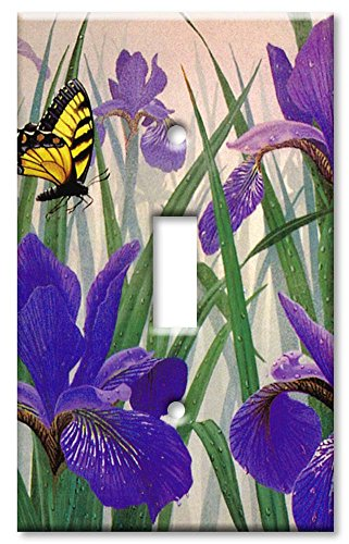 Art Plates - Butterfly in Irises Switch Plate - Single Toggl