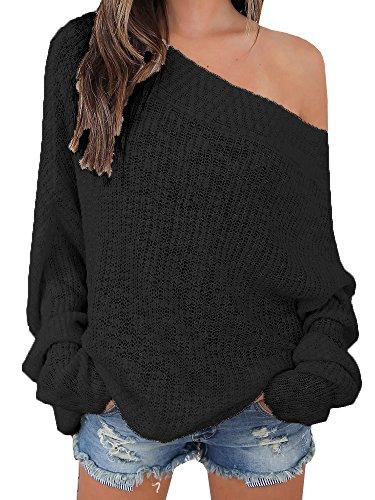 Beautife Women Off Shoulder Long Sleeve Knit Loose Oversized Pullover Sweater (Medium, Black)
