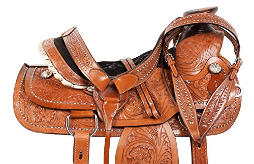 16 17 SILVER STUDDED A FORK RANCH ROPING WESTERN LEATHER HAND CARVED PLEASURE TRAIL QUARTER HORSE SADDLE TACK SET (17)