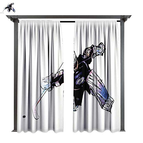 Hockey, Exterior/Outside Curtains, Goalkeeper in Hand Drawn Style with Protective Gear in a Competitive Game, for Patio Light Block Heat Out Water Proof Drape (W96 x L108 Inches Purple Black White)