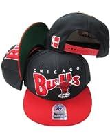 Chicago Bulls Black/Red Two Tone Plastic Snapback Adjustable Plastic Snap Back Hat / Cap