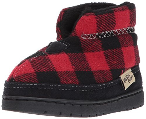 Western Chief Kids Plush Slipper Boot, Buffalo Plaid, 11 M US Little Kid Buffalo Plaid Boot