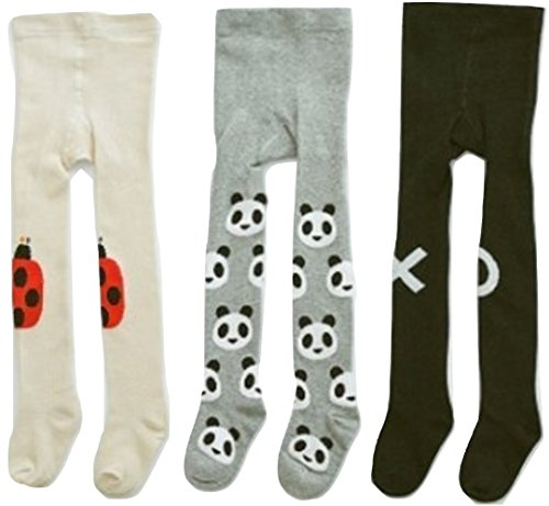 (Toddler Tights for Little Girls, Soft & Warm, Fashion Animals: Panda, Ladybug and XO Hugs & Kisses for Girls (3 Pack, 1-2 Years))