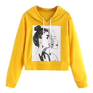 923a8513e60d JUTOO Vintage Sweatshirts Designer Hoodies Hoodies Fashion Women Long  Sleeve Casual Figure Print Drawstring Hoodie Sweatshirt Yellow  Amazon.co.uk   Clothing