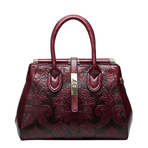 Mena UK Damas de diseño de cuero de estilo vintage flores de cuero clásico Tote Satchel Crossbody bolsa de hombro Messenger Bag (Negro-China Rojo) Rojo