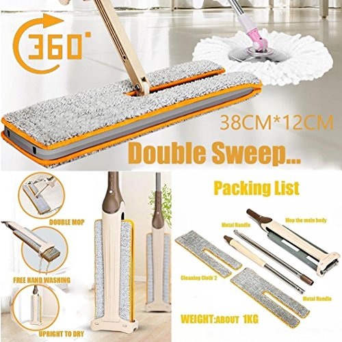 Febecool Double Sided Non Hand Washing Flat Mop Wooden Floor Mop Dust Push Mop Home Cleaning - Usps Delivery Flat Time Rate