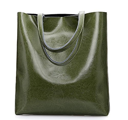 Green Pockets LLXYM Simple Leather Bag Multiple Shoulder Fashion Oily Capacity Large Tote Women's w7XqZgWr7U