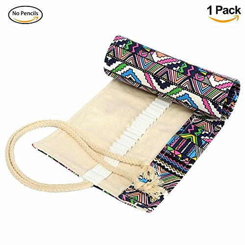 Hofumix Pencil Case Roll Up Organizers Washable Canvas Pencil Bag Pencils Storage Wrap Pouch Holder Ethnic Style for Graders Girls Painting (48holes) Ethnic Stationery