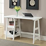 Excellent Trestle Desk, Expert Guide, Features Two Fixed Shelves that Plenty of Space, Perfectly Sized Desk Top Has Ample Space for Computer, Keyboard, and Mouse, White + Expert Guide