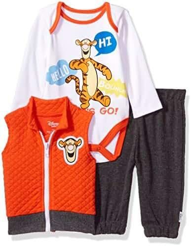 Disney Baby Boys' Tigger 3 Piece Vest, Bodysuit OR T-Shirt, and Pant Set