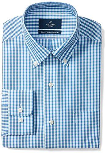 (BUTTONED DOWN Men's Classic Fit Button-Collar Pattern Non-Iron Dress Shirt, Blue/Aqua Gingham, 18