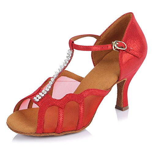 B Women Leather Mesh Dance Red Ballroom Latin HROYL Shoes US 4 AF45310 M qA6xZ6wv