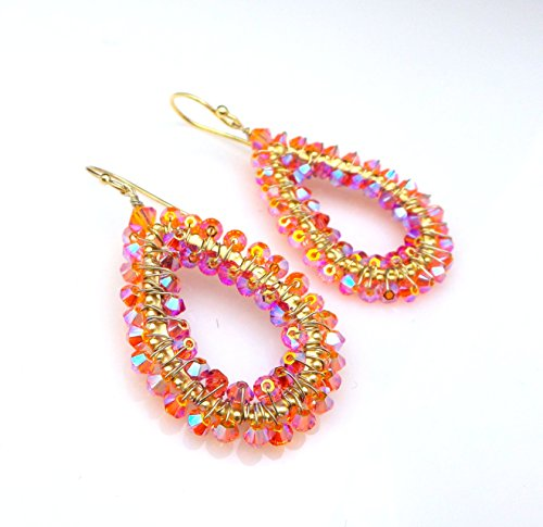 Swarovski crystal beads in orange sun and padparascha pink teardrop wire wrapped earrings.