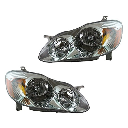 Front Headlights Headlamps Lights Lamps Pair Set for 03-04 Corolla S Model