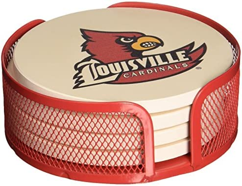Thirstystone VUL-HA24 Stoneware Drink Coaster Set with Holder University of Louisville