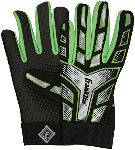 Franklin Sports Youth Receiver Gloves, Green/Black - - Franklin Green Sports