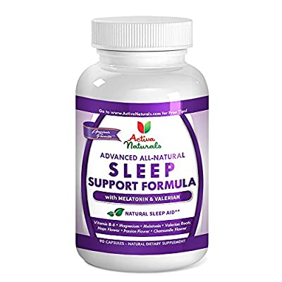 Activa Naturals Sleep Support Supplement with Melatonin, Chamomile, Hops, Passion Flower & Valerian Herbs - 90 Veg. Caps