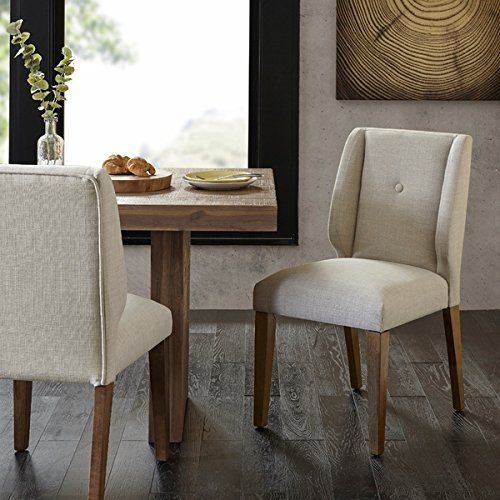 Modern & Contemporary Polyester Fabric Pecan Wood Finish Light Grey/Pecan Dining Chair (Set of (Pecan Round Chair)