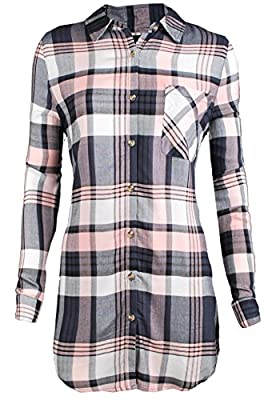 TL Womens Cozy Long Sleeve High-Low Hem Plaid Flannel Shirt and Shirt Dress