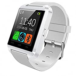 HopCentury Bluetooth Smart Watch for Android Cellphones - Barometer Altimeter Pedometer Functions - Answer Calls Take Photos Read Texts and More - Partial Functionality with iPhone Devices (White)