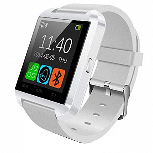 HopCentury Bluetooth Smart Watch for Android Cellphones - Barometer Altimeter Pedometer Alarm Functions - Answer Calls Take Photos Read Texts and More - Partial Functionality with iPhone Device White