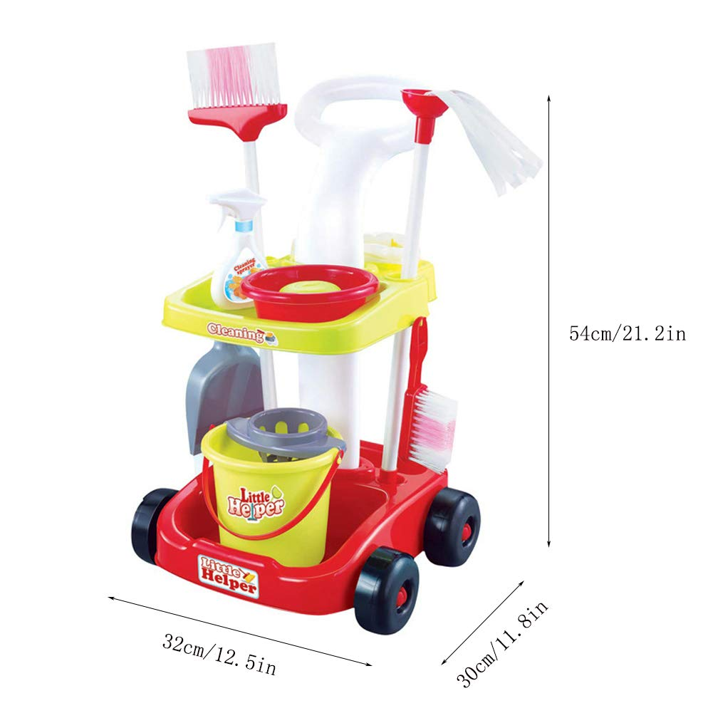 Amazon.com: Childrens Broom - Cleaning Trolley Broom Set - With Mop, Broom, Dustpan, Brush, Basin, Soap, Detergent, Cleaning Bucket - Childrens Toy Set: ...