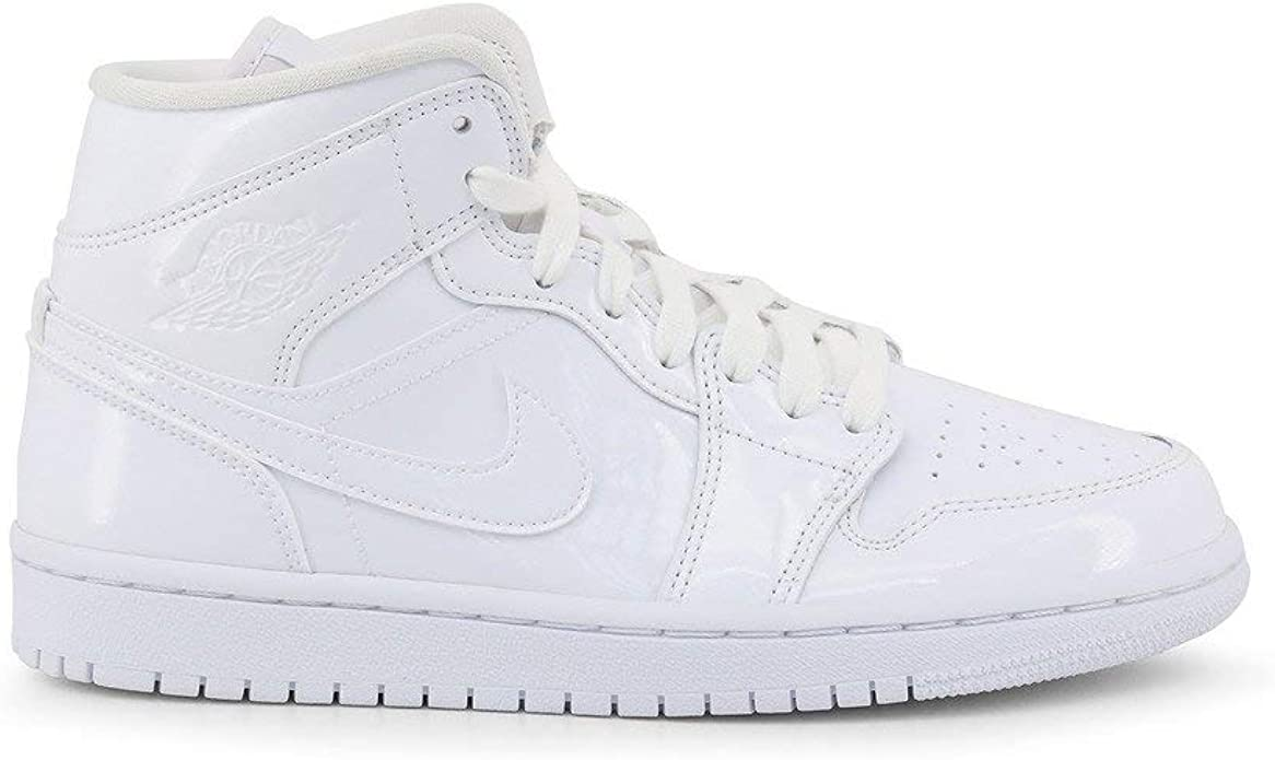 Amazon Com Jordan Air 1 Women S Mid Patent Leather White Shoes