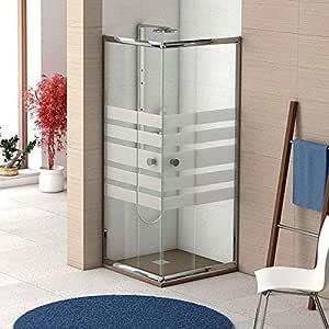 Mampara de ducha angular con 2 hojas fijas y 2 hojas correderas con cristal templado decorado de seguridad de 6mm modelo Bricodomo Ecija 80X100: Amazon.es: Bricolaje y herramientas