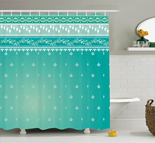 Classic Stripe Wallpaper - Ambesonne Teal Decor Collection, Indian Sari Pattern Asian Traditional Clothing Fabric Design Style Classic Illustration, Polyester Fabric Bathroom Shower Curtain Set, 75 Inches Long, Teal Green